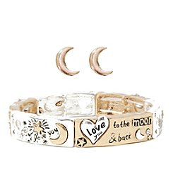 L&J Accessories Two Tone Love you to the Moon Bracelet and Earring Box Set