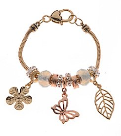 L&J Accessories Tri Tone Flower, Butterfly and Leaf Charm Bracelet