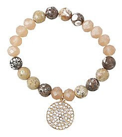 L&J Accessories Stone Bracelet with Circle Charm