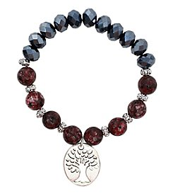 L&J Accessories Stone and Glass Bead Bracelet with Tree Charm