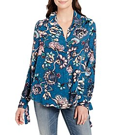 Vintage America Blues Printed Crinkle Top