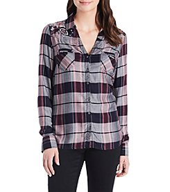 Vintage America Blues Plaid Woven Top