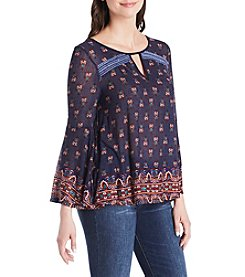 Vintage America Blues Printed Peasant Top