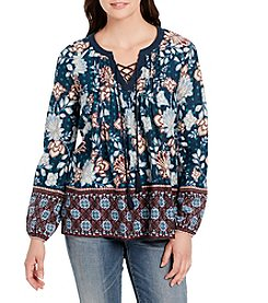 Vintage America Blues Printed Lace Up Top