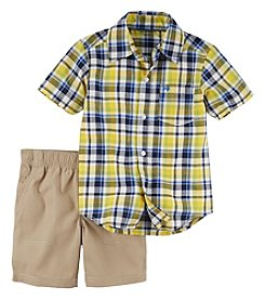 Carter's Boys' 2T-5T Plaid Short Sleeve Shirt And Shorts Set