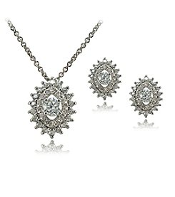Sterling Silver Cubic Zirconia Earrings And Pendant Necklace Set