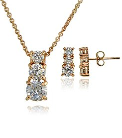 Gold Over Sterling Silver Cubic Zirconia Earrings And Pendant Necklace Set
