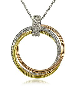 Sterling Silver Tri Tone Circle Pendant Necklace