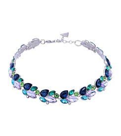 GUESS Silvertone Crystal Multi Stone Collar Necklace