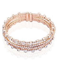 GUESS Rose Goldtone Five Row Simulated Crystal Bracelet