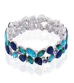 GUESS Silvertone Simulated Crystal Multi Stone Bracelet