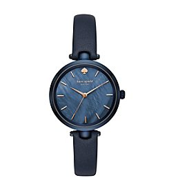 kate spade new york Women's Blue Leather Holland Watch