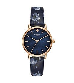 kate spade new york Women's Rose Goldtone and Blue Leather Metro Watch