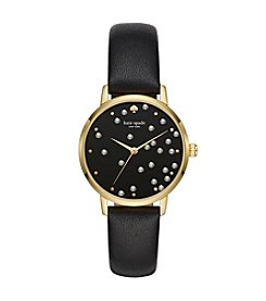 kate spade new york Black Leather Metro Watch