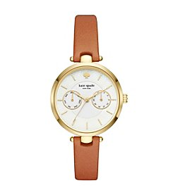 kate spade new york Women's Brown Leather Holland Watch