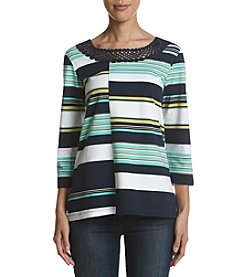 Alfred Dunner Spliced Stripe Top