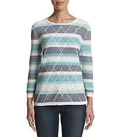 Alfred Dunner Striped Stud Detail Sweater
