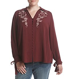 Nine West Vintage America Collection Plus Size Daniela Embroidered Blouse With Tie Cuffs