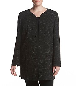 Nine West Plus Size Space Dye Open Front Jacket