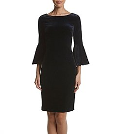 Calvin Klein Bell Sleeve Velvet Sheath Dress