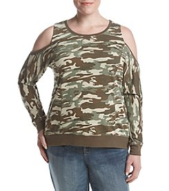 no comment Plus Size Cold Shoulder Camouflage Sweater