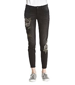 Boom Boom Rose Embroidery Applique Skinny Jeans