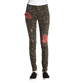 Boom Boom Rose Embroidery Applique Camo Print Skinny Jeans