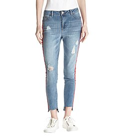 Boom Boom Red Side Tape Destructed Step Hem Jeans