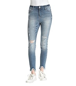 Celebrity Pink Frayed Sharkbite Hem Distressed Skinny Jeans