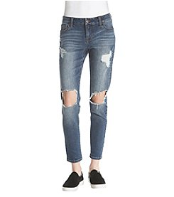 Celebrity Pink Rippled Ankle With Knee Holes Jeans