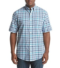 IZOD Men's Big & Tall Short Sleeve Saltwater Chambray Plaid Shirt