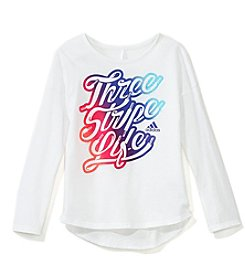 adidas Girls' 2T-6X Long Sleeve All Star Stripe Life Tee