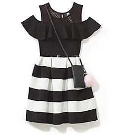 Beautees Girls' 7-16 Striped Cold Shoulder Dress