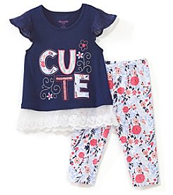 Nannette Girls' 4-6X Cute Top And Floral Leggings