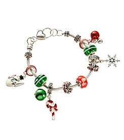 L&J Accessories Silvertone Glass Bead Holiday Bracelet