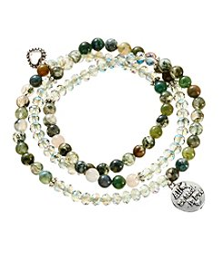 L&J Accessories Glass And Stone Bead Stretch Bracelet Set