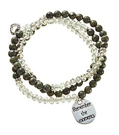 L&J Accessories Beaded Glass Bracelet With Mom Stone Heart