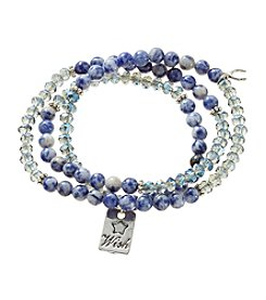 L&J Accessories Beaded Glass Bracelet With Stone