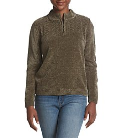 Alfred Dunner Petites' Quarter Zip Sweater