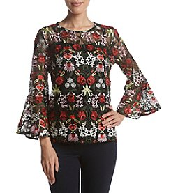 Adiva Floral Applique Bell Sleeve Top