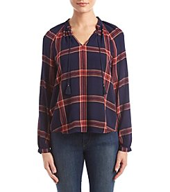 Lucky Brand Plaid Drawstring V-Neck Top