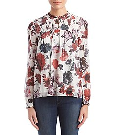 Lucky Brand Sheer Front Button Floral Pattern Top