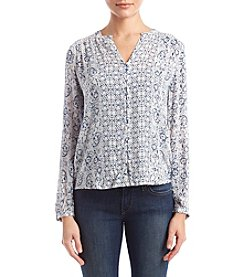Lucky Brand Smocked Paisley Peasant Top