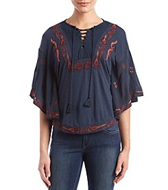 Lucky Brand Lace Up Abstract Embroidery Peasant Top