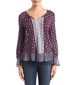 Lucky Brand Mixed Paisley Print Peasant Top