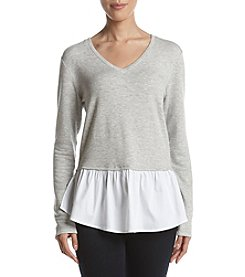 Bobeau V-Neck Peplum Sweater