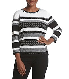 Alfred Dunner Petites' Striped Stud Detail Sweater