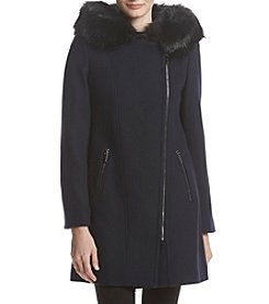 Calvin Klein Wool Faux Fur Trim Hood Asymmetrical Zip Coat