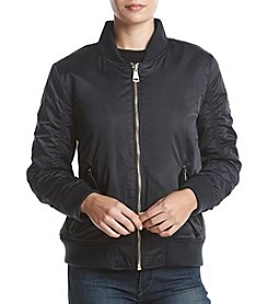 Calvin Klein Ruched Sleeve Bomber Jacket