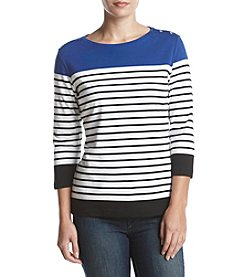 Rafaella Colorblock Horizontal Stripe Top